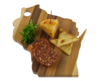 Wisconsin Cutting Board - Cheese Board-in the Shape of WI made out of Solid Walnut, Maple, Cherry and Paduk