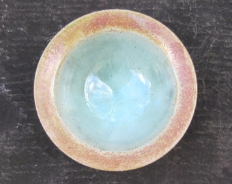 Bowl with sea-green glaze and rutile rim