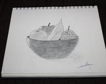 Pencil Drawing, Fruit bowl, apples, grapes, fruit in bowl, bowl, handmade, sketch, art, framed art, drawing, fruit in a bowl, bowl of fruit