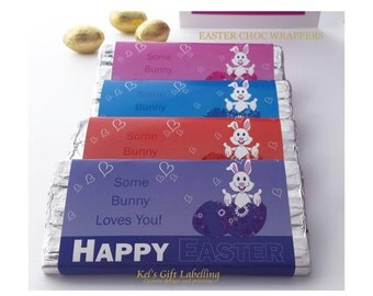 Printed Easter Bunny Chocolate Wrappers.