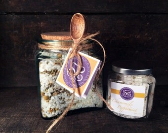 Chamomile & Peppermint Bath Salts Gift Jar w/Spoon
