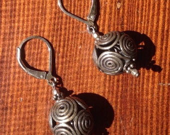 Fancy Sterling Silver Earrings With Leverback. 1 1/2inches long X 1/2 wide