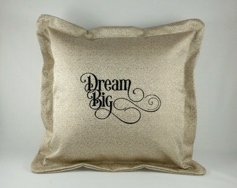 Gorgeous Golden Cushion Cover with Embroidered Words - Dream Big - Perfect Teenage Gift