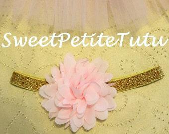 Pink and gold headband, Pink headband, Light Pink headband, pale pink headband, Preemie headband, adult headband, newborn headband, flower
