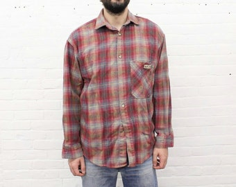 NO FEAR ...  vintage flannel shirt from the 1990's by no fear, size large - extra large / xl