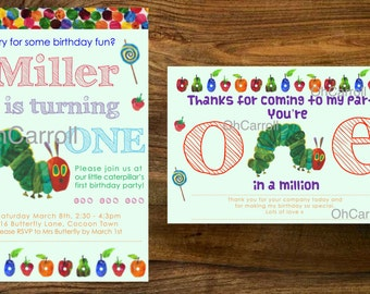 The Very Hungry Caterpillar Birthday Invitation and Thank You Card - First, Second and Third Birthday Designs