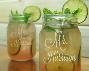Mr Mrs Mason Jar Glass / Personalized Wedding Glasses / Engraved / Etched Gift / Set of 2, Add Your Date or Name / Rustic Wedding -48 Fonts