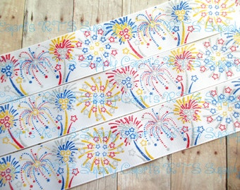 "1.5"" Glittered Fireworks on White Grosgrain Ribbon 4th Of July Patriotic High Quality US Designer Ribbon"
