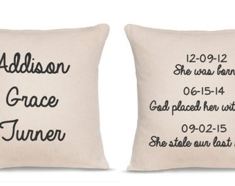 Gift for Adopted Child - Adoption Pillow - Adoption Gift - Foster Parents - Adoption Quote - Adoption Sign - Foster Children