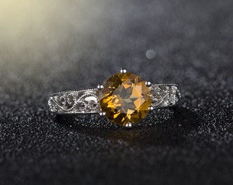 1.60cts Natural Yellow Citrine Solitaire Filigree Ring. Citrine is November Birthstone!