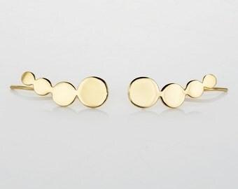 Ear Crawler , Climber Earring , Ear Cuff , Gold Ear Wrap , Gold Ear Climber , Ear Jackets , Gold Ear Pin , Climbing Earrings