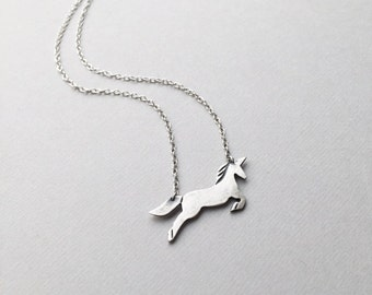 """Running Unicorn Charm Pendant, Fantasy Animal, Dainty Unicorn Jewelry, 15""""- 17"""" Sterling Silver, Mythical Creature, Quirky Gifts for Women"""