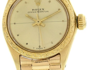 Ladies Vintage Rolex Oyster Perpetual 18K Yellow Gold Watch 6802
