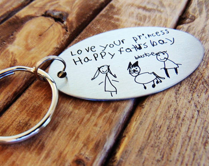 Child's Handwriting Keychain - Actual Handwriting - Laser Engraved - Brushed Stainless Steel