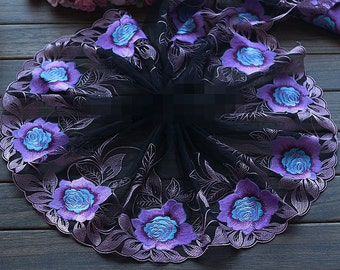 High Quality Penoy Floral Embroidered Lace Trim  Tulle Lace Trim 9.05 Inches Wide 2 yards X0157