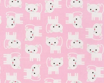 Pink Kitten Fabric Urban Zoologie Premium Cotton Fabric by Ann Kelle for Robert Kaufman Fabrics