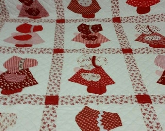 Red and White Baby Girl Quilt