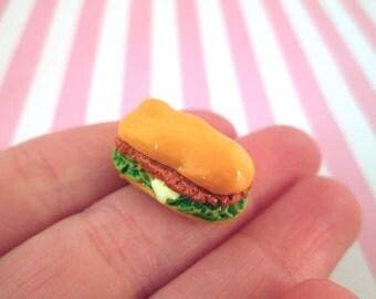 Miniature Sub Sandwich Cabochons Hoagie Cabochons,  #129b