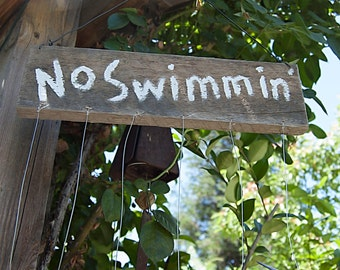 Weathered Wood Sign and Silverware Fish Wind Chime  - No Swimmin - TFWC015