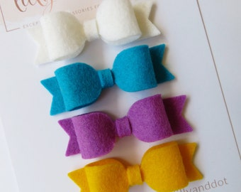 Beavers Felt Bow Hair Clips - Beavers Hair Bows - Scouts - Beavers Bows - Mini Hair Bows - 100% Wool - Felt Hair Bow - Hair Clip Set