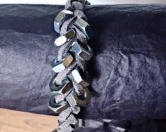 Suede Braided Hex Nuts Bracelet
