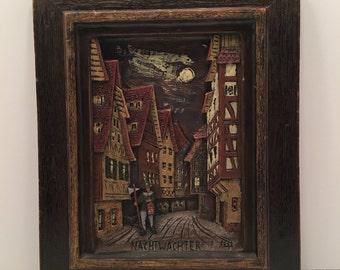 Wax Picture ~ Nachtwachter ~ Nightwatchman ~ German ~ Vintage