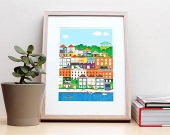 Teneriffe Brisbane – Unframed A4 poster print, home office wall art, modern colourful decor, cityscape, skyline, architecture, illustration