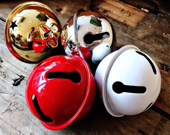 Large Metal Jingle bell - avaliable in red, gold, silver or white. Sleigh Bell, I Believe Bell
