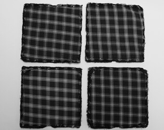 Black plaid flannel coasters, repurposed flannel, fabric coasters, man cave, masculine style, housewarming gift, home and living, barware