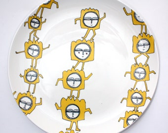 "Dinner plate illustrated decal ""Dancing Men"""