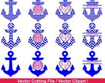58-JDI/ Nautical Anchor SVG / Anchor Monogram Frames / Monogram Frame svg, dxf, ai, eps, png / Anchor circle monogram frames  /
