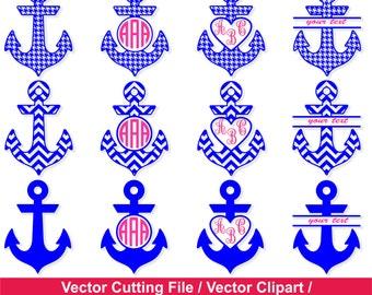 Nautical Anchor SVG / Anchor Monogram Frames / Monogram Frame svg, dxf, ai, eps, png / Anchor circle monogram frames  /