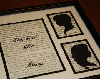 "Hand-Painted The Hunger Games ""Stay With Me? Always."" Upcycled Mockingjay Wall Art with Silhouetted Katniss and Peeta"