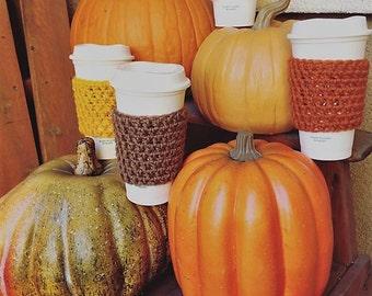 Fall crochet coffee cozy