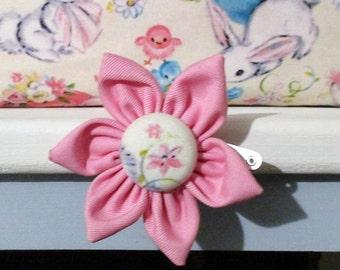 Pink Flower hairclip handmade