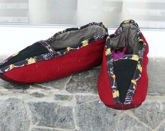 Handmade female Bulgarian Wool Vintage slippers, hand embroidered sock with silk, part of traditional folk costume