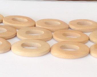Hambaba Wood Ring, natural wood beads, cutout oval beads-10pc