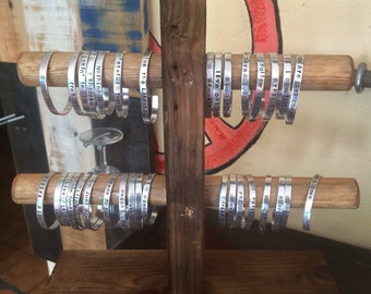Wooden jewelry display, Recycled wood display, Bracelet display, Craft show display, Home organizer, A/3E