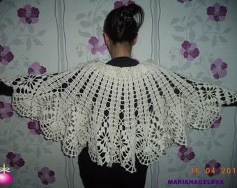 Magnifique chauffe épaules capeline pèlerine blanc/MAIN crocheté /sur commande