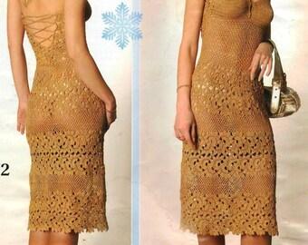 Mesdames crocheter robe beige / sur commande