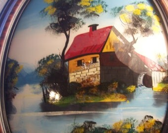 Hand Painted Scene on Glass/Oval Frame and Beveled Glass