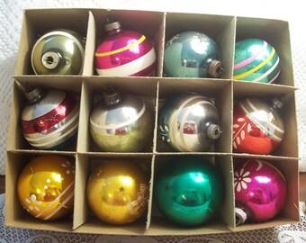 One Dozen Shiny Brite Christmas Ornaments