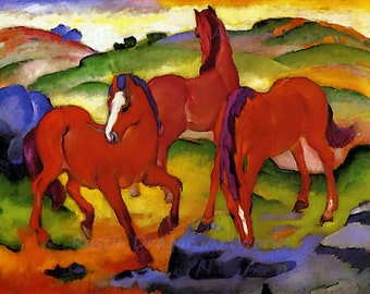 "Franz Marc ""Grazing Horses"" 1911  Reproduction Digital Print 3 Red Horses Nature Animals"