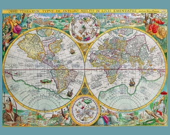 Portolan Charts 1594 Navigational Map based on Compass Directions Reproduction Digital Print Wall Hanging