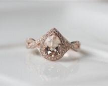 6x8mm Pear Cut Morganite Engagement Ring Rose Gold  Morganite Ring with Milgrain Details/Diamond Halo Engagement Ring/Wedding Ring/Bridal