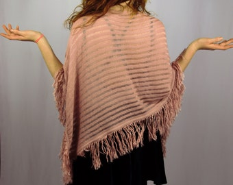 So Fetch Pink Poncho With Fringe and Sheer Stripes