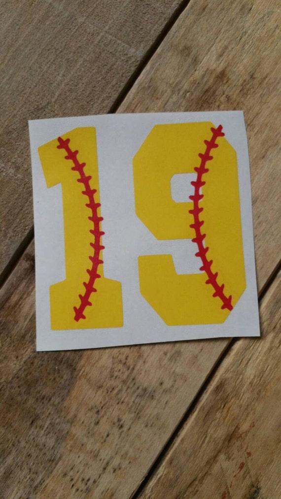 Softball Number Decal Softball Decals Decals Sport Decals