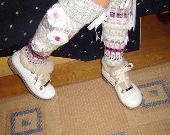 Over the Knee Socks, Knee High Socks, Handmade wool Socks, Leg Wormers, Art Socks, Knitted High Socks, Model: VALENTINA 1