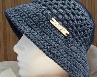 Womens hat is handmade Navy