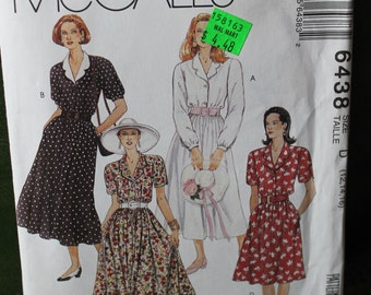 McCall's 1993 Shawl Collar Dress with Pockets and Elastic Waist sz 12 14 16